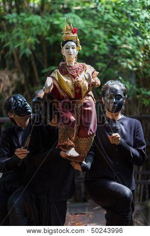 BANGKOK, THAILAND - July 5 :Traditional Thai Khon puppet spectacle at Klong Bang Luang on July 5, 2013 in Bangkok, Thailand