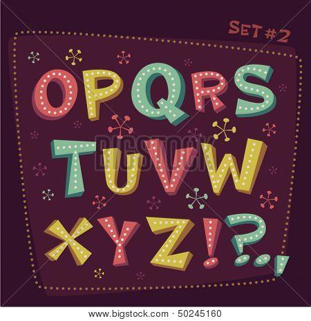 Retro type font. Fifties style alphabet. Vector illustration.