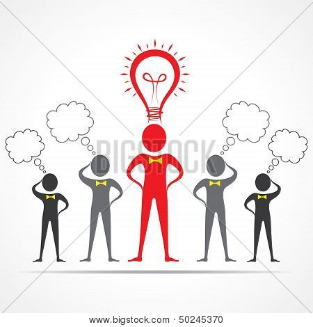 Team in confusion and leader having idea concept -vector illustration poster