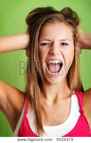 A Frustrated Woman Is Screaming