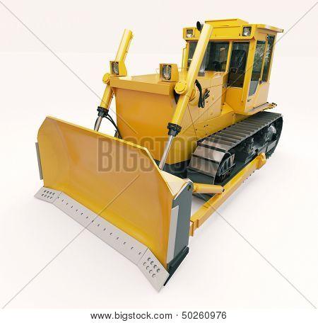 Heavy crawler bulldozer on a light background
