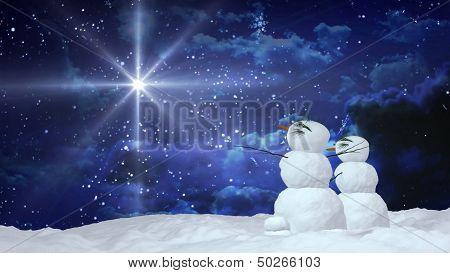 Christmas Snowmen With White Star