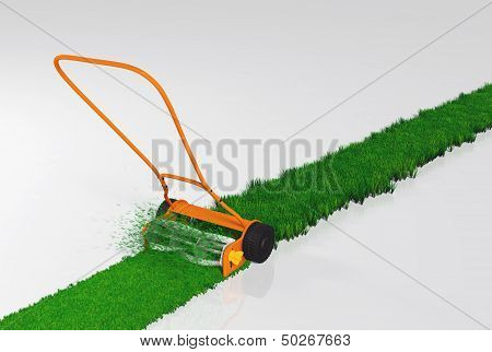 A Push Lawn Mower Is Working