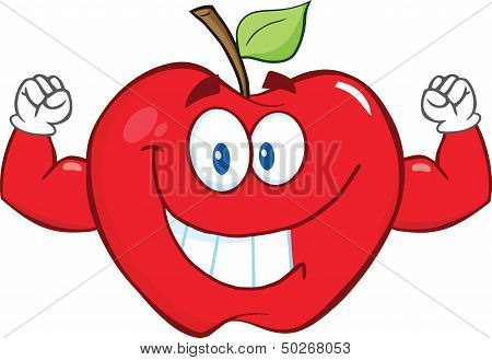 Apple Cartoon Mascot Character With Muscle Arms
