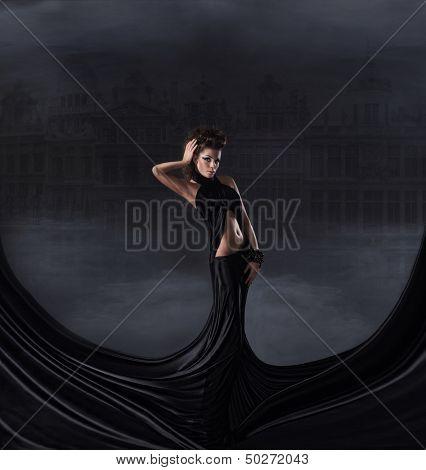 Sexy woman in black dress