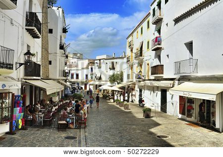 IBIZA, SPAIN - SEPTEMBER 21: Pedestrian street in old town on September 21, 2012 in Ibiza Town, Balearic Islands, Spain. With a population of 48,484, the city is the capital of this tourist island
