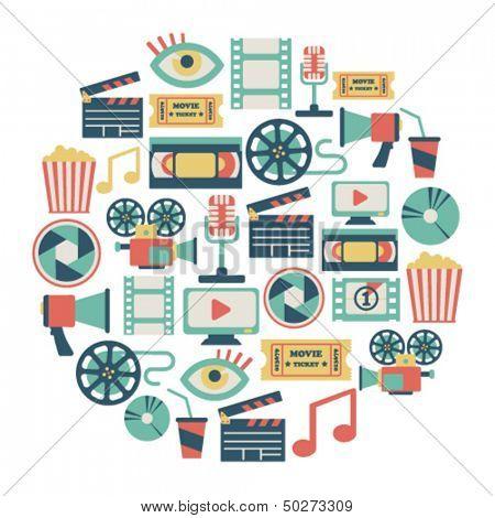 round card with flat movie design elements