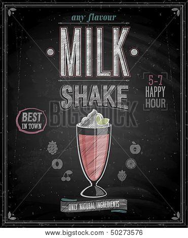 Vintage MilkShake Poster - Chalkboard. Vector illustration.