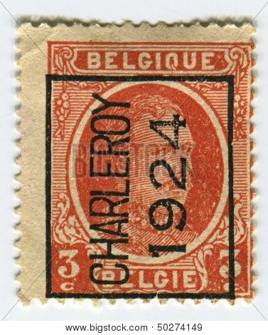 BELGIUM - CIRCA 1922: A stamp printed in Belgium shows image of the Albert I (April 8, 1875 - February 17, 1934) reigned as King of the Belgians from 1909 through 1934, circa 1922.