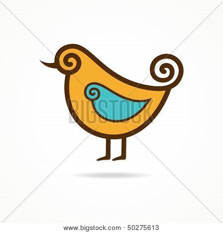 Pretty funny vector yellow bird on the white background