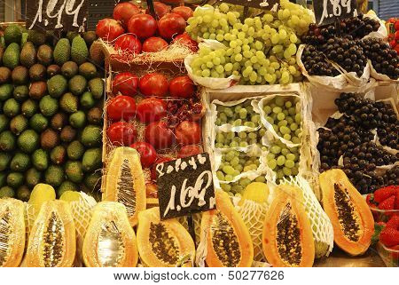 Display Of Fruit On Market Stall. Barcelona.