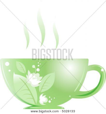 Cup With Green Jasmine Tea
