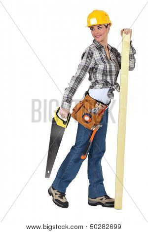 A female carpenter with a handsaw. poster