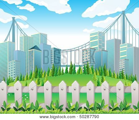 Illustration of a hill with many pine trees near the tall buildings