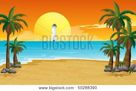 Illustration of a quiet beach with a lighthouse