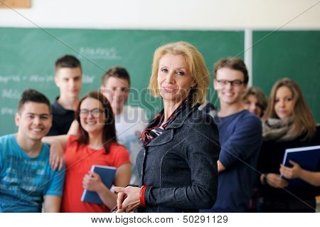 Group of students with a teacher in a classroom