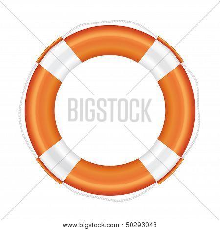 Orange lifebuoy with white stripes and rope.