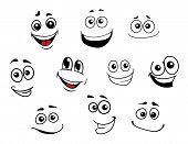 Funny cartoon emotional faces set for comics design poster