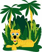 Vector illustration of a tiger laying down in the jungle. poster