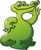 Nice chubby green crocodile with big mouth raising his left hand to wave hello while smiling shyly in a very nice attitude poster