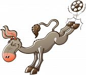 Excited gray donkey with big ears kicking violently a soccer ball with the hooves of his hind legs while smiling enthusiastically and clenching his eyes poster