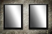 Two board on grey abstract background. Blank illustration poster