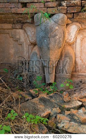 Elephant image on ruins of ancient Burmese Buddhist pagodas Nyaung Ohak in the village of Indein on Inlay Lake in Shan State Myanmar (Burma). poster