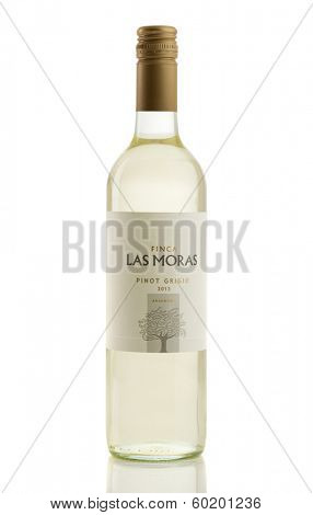TELFORD, UK -  FEBRUARY 21, 2014: Photo of a bottle of Finca Las Moras Pinot Grigio white wine. Finca Las Moras is a pioneer winery in the production of high end wines in San Juan, Argentina