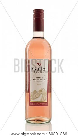 TELFORD, UK - FEBRUARY 21, 2014: Photo of a Gallo Family bottle of White Zinfandel wine.  E & J Gallo winery is currently the largest winery in the world being family owned and established in 1933