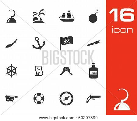 Vector black pirates icons set