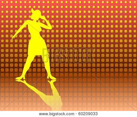 Tap Dancing Lady On A Jazzy Background