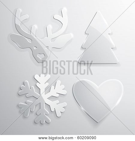 Set of glass Christmas and New Year icons