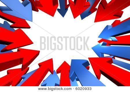 Blaue und rote Pfeile Ausrichtung zur Mitte.