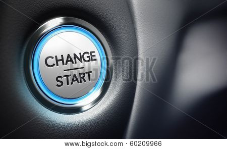 Change start button on a black dashboard background - Conceptual 3D render image with depth of field blur effect dedicated to motivation purpose. poster