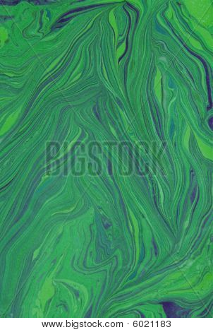 Organic veins of green and blue swirl together in this abstract background illustration which resembles Italian marbled paper marble stone or finger paints mixing together poster