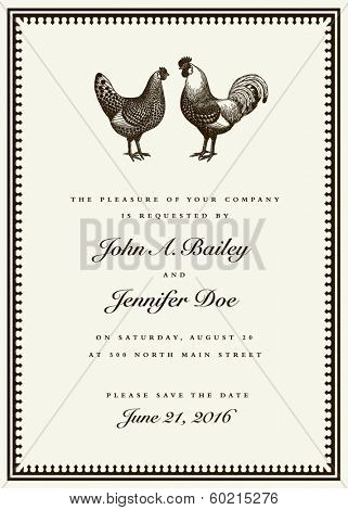 Vector rooster and hen wedding invitation template. Easy to edit. Great for invites and announcements.