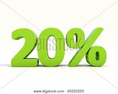 Twenty percent off. Discount 20%. 3D illustration.