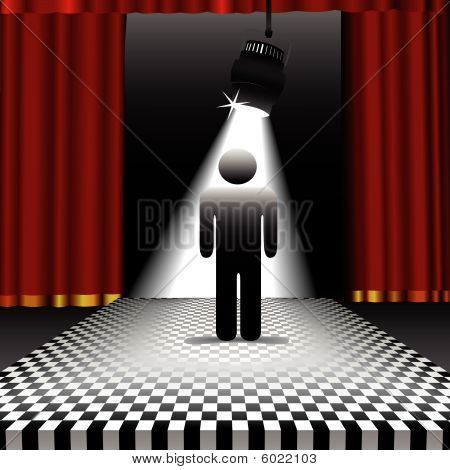 Person In Spotlight On Checkerboard Floor