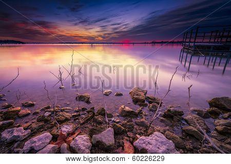 Winter Sunrise Over Benbrook Lake