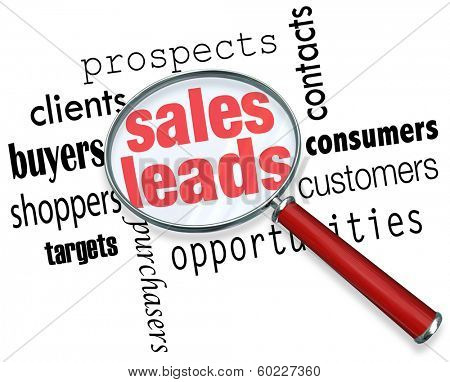Sales Leads Looking Finding Searching Magnifying Glass