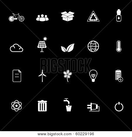 Ecology icons with reflect on black background stock vector poster