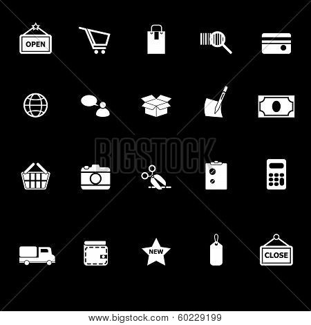 Shopping Icons With Reflect On Black Background