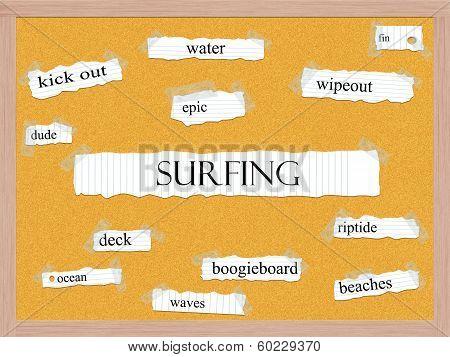 Surfing Corkboard Word Concept