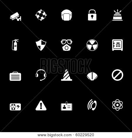 Safety Icons With Reflect On Black Background