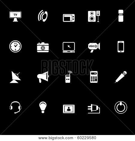 Electronic Icons With Reflect On Black Background
