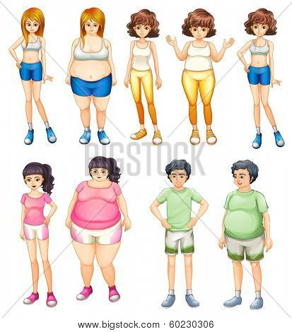 Illustration of the fat and skinny people on a white background