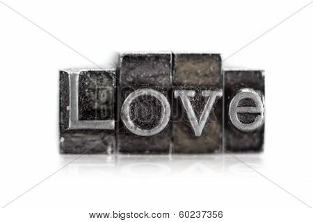 """The word """"love"""" in letterpress type on withe background - Macro poster"""