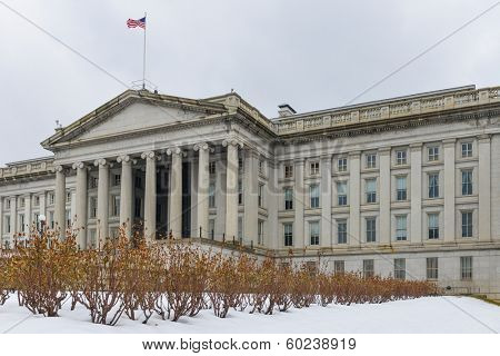 Washington DC - The Treasury Department Building in Winter