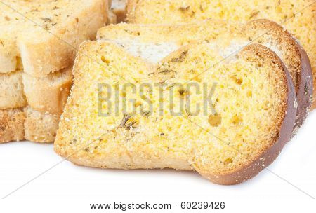 Garlic Bread On A White Background