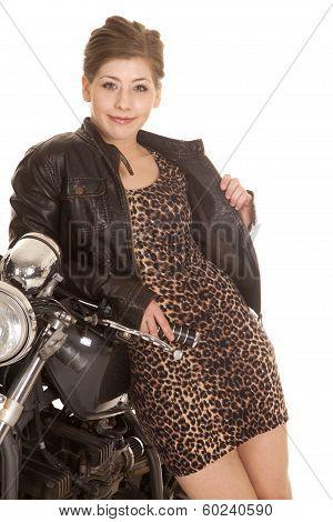 Woman Leopard Print Dress Lean On Motorcycle Smile